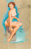 Pin-up and Glamour Art, KNUTE O. MUNSON (American, 20th Century). The Diver, calendarillustration. Pastel and graphite on board. 32 x 20.5 in....