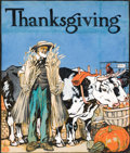 Mainstream Illustration, EDWARD PENFIELD (American, 1866-1925). Thanksgiving. Gouacheon board. 17 x 14.5 in.. Signed lower left with a monograph...