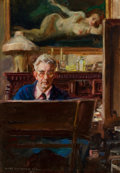 Mainstream Illustration, JAMES MONTGOMERY FLAGG (American, 1877-1960). The Private Lifeof a Public Man, Self Portrait, 1941. Oil on board. 14 x ...