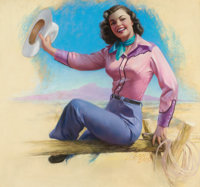 ZOE MOZERT (American, 1904-1993) The Cowgirl, 1956 Pastel on board 25.5 x 27.5 in. Signed lowe