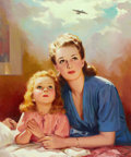 Mainstream Illustration, LAWRENCE NELSON WILBUR (American, 1897-1960). Young Girl Prayingwith Her Mother. Oil on canvas. 24 x 20 in.. Signed low...