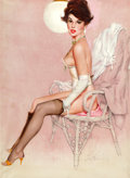 Pin-up and Glamour Art, FRITZ WILLIS (American, 1907-1979). Pin-up in Wicker Chair.Oil on canvas laid on board. 30 x 22 in.. Signed lower right...