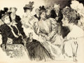 Mainstream Illustration, CHARLES DANA GIBSON (American, 1867-1944). Tea Room. Ink onpaper. 21 x 28 in.. Signed lower right. ...