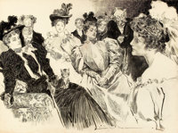 CHARLES DANA GIBSON (American, 1867-1944) Tea Room Ink on paper 21 x 28 in. Signed lower right