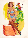 Pin-up and Glamour Art, JOYCE BALLANTYNE (American, 1918-2006). Pin-up. Gouache onboard. 19 x 14 in.. Signed lower right. ...