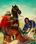 Pulp, Pulp-like, Digests, and Paperback Art, GEORGE ROZEN (American, 1895-1974). Masked Rider Western pulpcover, September 1945. Oil on canvas. 20 x 16 in.. Not sig...
