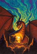 Pulp, Pulp-like, Digests, and Paperback Art, TIM HILDEBRANDT (American, 1939-2006). The Dragonbards bookcover, 1988. Acrylic on masonite. 28 x 19 in.. Signed lower ...