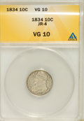 Bust Dimes, 1834 10C Small 4 VG10 ANACS. JR-4. NGC Census: (2/253). PCGSPopulation (1/174). Mintage: 635,000. Numismedia Wsl. Price fo...
