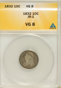 Bust Dimes, 1832 10C VG8 ANACS. JR-1. NGC Census: (2/239). PCGS Population(4/271). Mintage: 522,500. Numismedia Wsl. Price for NGC/PCG...