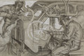 Paintings, DEAN CORNWELL (American, 1892-1960). Factory Workers. Mixed-media on board. 13.5 x 20 in.. Not signed. ...