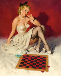 GIL ELVGREN (American, 1914-1980) Check and Double Check (Now Don't Get Me in a Corner), 1946 Oil on