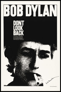 "Don't Look Back (Leacock-Pennebaker, 1967). Autographed One Sheet (27"" X 41""). Documentary"
