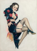 Pin-up and Glamour Art, CARDWELL HIGGINS (American, 1902-1983). Pin-up in Black.Pastel on board. 33 x 22 in.. Signed lower left. ...