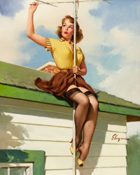 GIL ELVGREN (American, 1914-1980) On the House, 1958 Oil on canvas 24 x 30 in. Signed lower ri