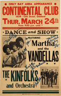 Music Memorabilia:Posters, Martha and the Vandellas Continental Club Concert Signed Poster(1966)....