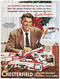 Movie/TV Memorabilia:Posters, Ronald Reagan 1952 Chesterfield Cigarettes Poster Ad....