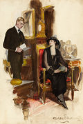 Mainstream Illustration, CLARENCE F. UNDERWOOD (American, 1871-1929). Man Reading Letterto a Seated Mourning Woman, Saturday Evening Post illustra...