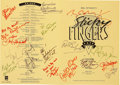 Music Memorabilia:Autographs and Signed Items, Rolling Stones Related - Bill Wyman's Sticky Fingers Cafe CelebritySigned Menu (1989)....