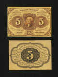 Fractional Currency:First Issue, Fr. 1231SP 5c First Issue Narrow Margin Pair New.... (Total: 2 notes)