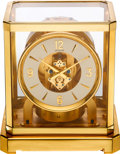 Timepieces:Clocks, LeCoultre Fine Gilt Brass & Glass Perpetual Motion Atmos Clock,circa 1960's. ...