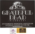 Music Memorabilia:Posters, Grateful Dead Sacramento Memorial Auditorium Concert Poster,Ticket, and Backstage Pass (Pacific Presentations, 1971)....(Total: 3 Items)