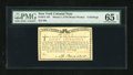 Colonial Notes:New York, New York March 5 ,1776 (Water Works) 8s PMG Gem Uncirculated 65EPQ....
