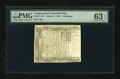 Colonial Notes:Connecticut, Connecticut March 1, 1780 5s Cut Canceled PMG Choice Uncirculated 63 EPQ....