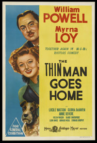 "The Thin Man Goes Home (MGM, 1945). Australian One Sheet (27"" X 40""). Mystery. Starring William Powell, Myrna..."