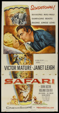 "Movie Posters:Adventure, Safari (Columbia, 1956). Three Sheet (41"" X 81""). Adventure.Starring Victor Mature, Janet Leigh, John Justin and Robert Cul..."