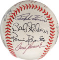 Autographs:Baseballs, Hall of Famers Baseball Signed by 11. Pay homage to the greatBaseball Hall of Fame with this exceptional clean ONL (White)...
