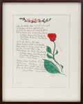 "Music Memorabilia:Original Art, Ben E. King Signed Limited Edition ""Stand by Me"" Manuscript...."