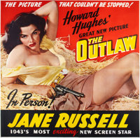 "The Outlaw (United Artists, 1943). Six Sheet (81"" X 81"")"