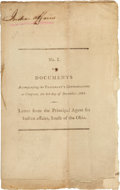 Books:First Editions, Benjamin Hawkins. Letter from the Principal Agent for IndianAffairs, South of the Ohio. [Philadelphia; n.p., 1801.]...
