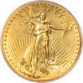 High Relief Double Eagles, 1907 $20 High Relief, Wire Rim MS62 PCGS....