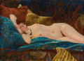 Pin-up and Glamour Art, HARVEY T. DUNN (American, 1884-1952). Reclining Nude. Oil onboard. 11.5 x 15.5 in.. Signed on the reverse. ...