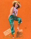 Pin-up and Glamour Art, EARL MORAN (American, 1893-1984). Hold Everything, c. 1940.Pastel on board. 22 x 17 in.. Signed lower right. ...