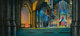 EYVIND EARLE (American, 1916-2000) Sleeping Beauty Animation Background Painting with Cel Set-Up, 1959 Mixed media 12