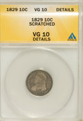 Bust Dimes, 1829 10C Small 10C--Scratched--VG10 ANACS. VG10 Details. NGCCensus: (2/239). PCGS Population (1/208). Mintage: 770,000. Nu...