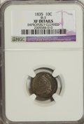 Bust Dimes: , 1835 10C --Improperly Cleaned--NGC. XF Details. JR-3. NGC Census:(11/383). PCGS Population (29/329). Mintage: 1,410,000. N...