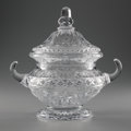"""Art Glass:Webb, AN ENGLISH """"ROCK CRYSTAL"""" COVERED TUREEN. George Pope for Thomas Webb & Sons, Circa 1880. Signed on body: G.H. Pope.. Et... (Total: 2 Items)"""