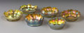 Art Glass:Tiffany , SIX AMERICAN FAVRILE GLASS SALTS. Tiffany Studios, Circa 1910. Fouretched: L.C.T.. Two etched: L.C.T. Favrile 210...(Total: 6 Items)