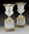 Art Glass:Other , A PAIR OF GILT BRONZE MOUNTED CUT CRYSTAL URNS. 20-3/4 inches (52.7cm) high, each. ... (Total: 2 Items)