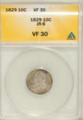 Bust Dimes, 1829 10C Small 10C VF30 ANACS. JR-6. NGC Census: (4/226). PCGSPopulation (4/197). Mintage: 770,000. Numismedia Wsl. Price ...