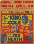 "Music Memorabilia:Posters, Nat ""King"" Cole Record Star Parade National Guard Armory Washington C. C. Concert Poster (1956)...."