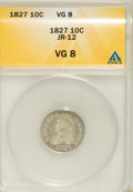 Bust Dimes, 1827 10C VG8 ANACS. JR-12. NGC Census: (2/238). PCGS Population (3/273). Mintage: 1,300,000. Numismedia Wsl. Price for NGC/...