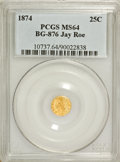 California Fractional Gold: , 1874 25C Indian Round 25 Cents, BG-876, Low R.4, MS64 PCGS. Ex:JayRoe. PCGS Population (39/15). NGC Census: (2/8). (#107...