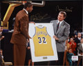 Basketball Collectibles:Others, Magic Johnson and Jerry West Dual-Signed Photograph. ...