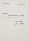Movie/TV Memorabilia:Autographs and Signed Items, Charlie Chaplin Signed Letter from 1967....
