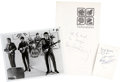 Music Memorabilia:Autographs and Signed Items, Beatles Signed Postcard and Menu.... (Total: 6 )