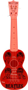 "Music Memorabilia:Memorabilia, The Beatles Vintage ""Four Pop"" Toy Guitar (circa 1964)...."